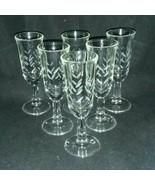6 Javit RAIN Cut Crystal 1 Ounce Cordial Liqueur Glass Slash Marks 3 Eac... - $24.99