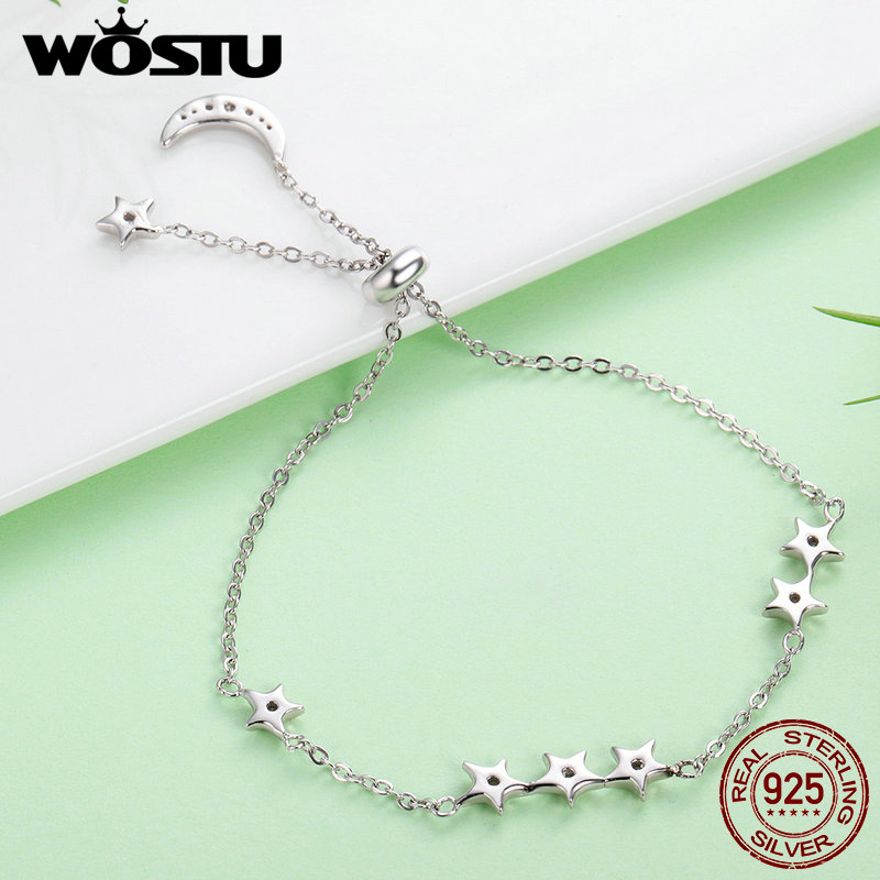 WOSTU Brand New Real 925 Sterling Silver Moon and Stars Adjustable Chain Bracele