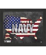 "United States Navy Patriotic Flag Map 9"" x 11"" Framed Photo - $29.99"