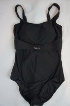 INC International Concepts One Piece Sz 14 Black Swimsuit Solid Belted 4... - $39.53