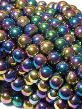 """7mm Rainbow Magnetic Hematite Round Beads 15.5"""" Strand image 2"""