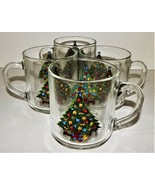 4 Christmas by Carlton 10oz Crystal Mugs 1985 Acton Ind USA Holiday Tree... - $29.69