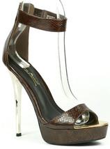 Brown Faux Leather Snake Skin Embossed Open Toe Gold High Heel Platform Sandal - $9.99
