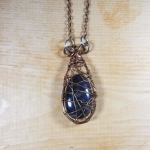Copper Wire Wrapped Black Moonstone Crystal Necklace Pendant - $25.00