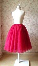 Deep Red Elastic High Waist Midi Tulle Skirt Adult Tea Length Midi Party Skirts image 3
