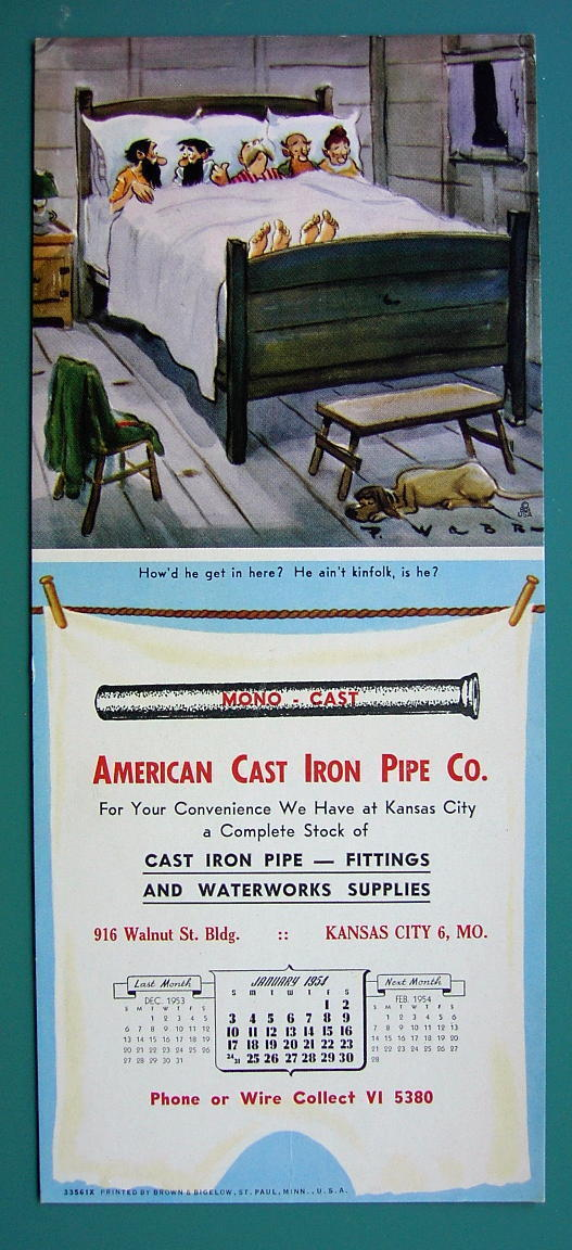 INK BLOTTER 1951 - Hillbillies in Bed & AD for Cast Iron Pipe Co Kansas City MO