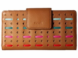 New Fossil Women Emma Tab RFID Leather Clutch Wallet Variety Colors - $67.51+