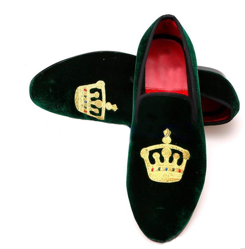 Handmade Men's Green Slip Ons Loafer Embroidered Velvet Shoes