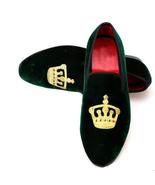 New Handmade Men's Green Slip Ons Loafer Embroidered Velvet Shoes - $129.99+