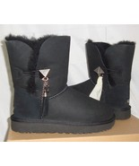 UGG Lilou Black Bailey Button Charms Suede Short Boots Size US 5 NIB #10... - $108.89