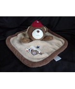 Just Born Brown Bear Sports Blanket Tan Red Hat Lovey Soccer Baseball - $12.69