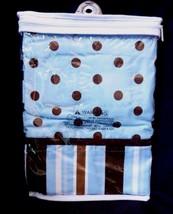 Trend Lab Tab Top Window Valance  53 x 15  Blue Brown Polka Dots Stripes - $19.55