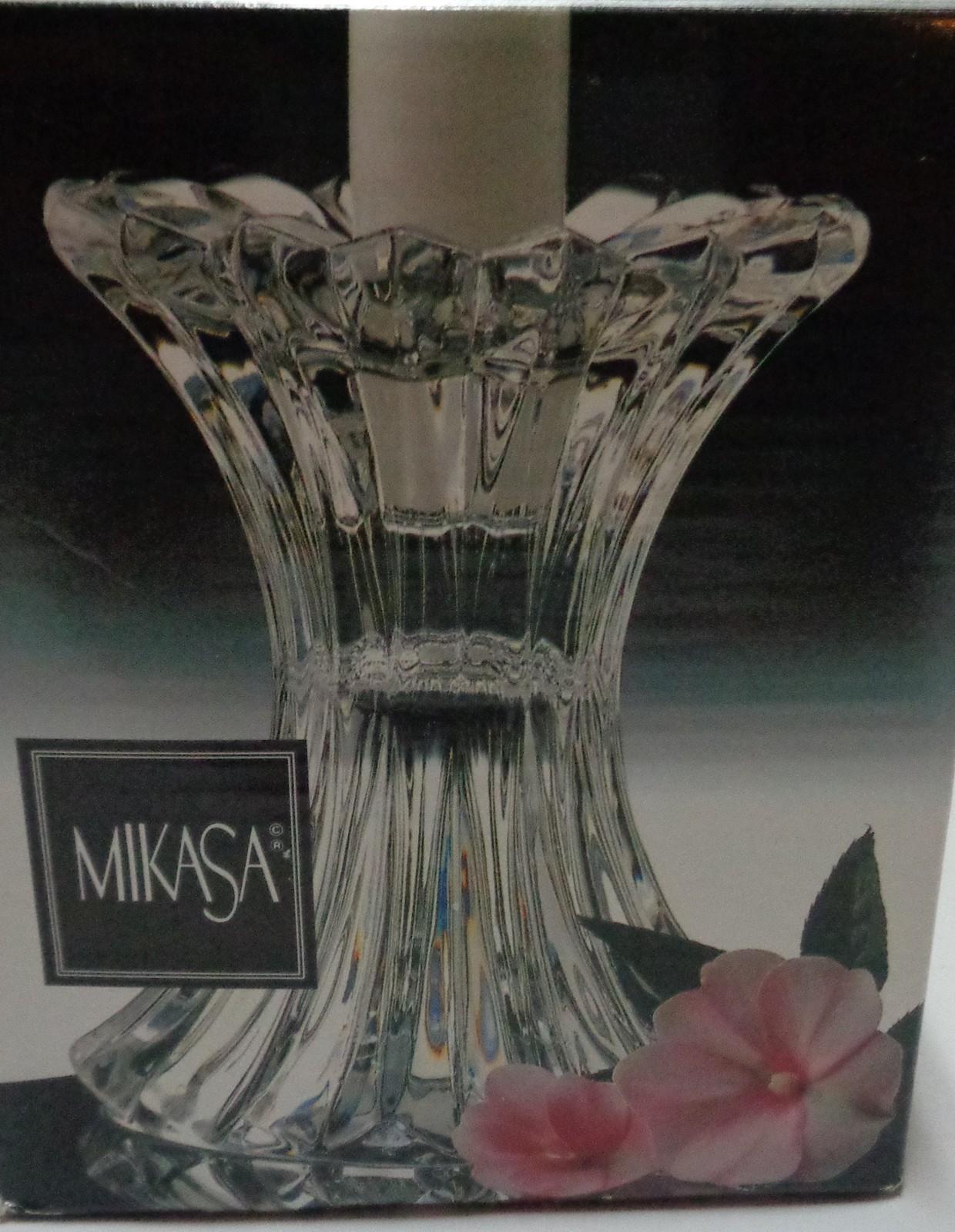 "Mikasa Crystal Candle Holder NIB 5"""