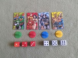 Justice League Road Trip Game Replacement Pieces Character Movers Red White Dice - $9.49