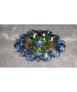 Vintage pin brooch Aurora borealis Blue & amber rhinestones what a shine.  - $45.00