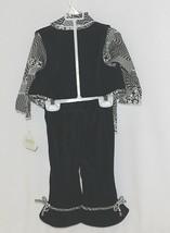 Snopea 3 Piece Outfit Vest Shirt Pants Black White Velour Size 9 Months image 2