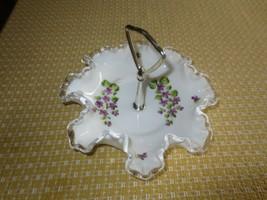 FENTON Silver Crest VIOLET  White Milk Glass HANDLED BONBON Candy Dish-7... - $9.85