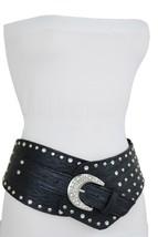 Women Hip Silver Metal Bling Charm Buckle Black Wide Western Belt Plus S... - $22.53
