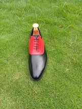 Handmade Men's Black and Red Dress/Formal Oxford Genuine Leather Shoes image 2