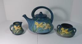 Roseville Pottery Blue Zephyr Lily Tea Set Teapot Sugar Creamer - $123.75