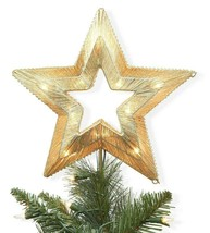 "Wondershop Lit Coil Wrapped 11.5"" x 10"" Star Christmas Tree Topper Gold NEW BOX"