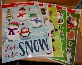 "Christmas Window Clings 5 Each You Choose 15"" x 12"" Holiday Time USA Imp... - $6.49"