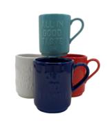 4 Kate Spade All In Good Taste Stacking Mugs Lenox Blue Red White Teal Set - $30.68