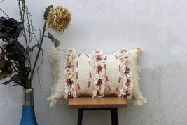Ivory Color Handmade Cotton Cushion Cover with Fringes Cushion Couch 12 ... - £22.90 GBP