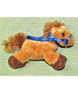 "AURORA MINI BEANBAG PLUSH HORSE 5"" TAN STUFFED ANIMAL WITH BLUE RIBBON R... - $17.82"