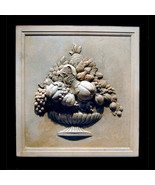 Fruit Basket Decorative Wall Relief Sculpture Plaque - $197.01