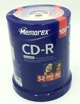 Memorex CD-R 52x 700 mb 80 min 100 pk Photo Video Data Storage Cake Box  - $24.99
