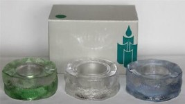 3 Partylite Iceland Tealight Trio HVY Glass Holders Blue Green White/Clear NIB - $16.99