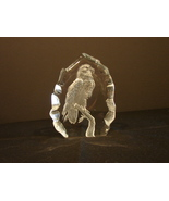 "Etched Crystal Glass Bald Eagle Sculpture Romania  5"" - $6.00"