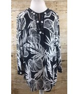 JM Collection Beaded Leaves Blouse Top Black White Size 16 Cotton 3/4 Sl... - $17.72