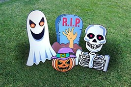 Halloween Decoration Outdoor Yard Signs with Stake-4 Piece Jumbo Sized H... - $14.83