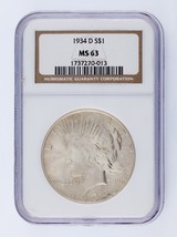 1934-D $1 Silver Peace Dollar Graded by NGC as MS63 - $346.49