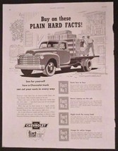 """1952 Chevrolet First Pickup Truck """"Plain Hard Facts"""" Print Ad Hauling Hay - $8.91"""