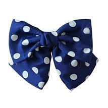 Retro Navy Polka Dots Large Bowknot French Barrettes Handmade Chiffon Lo... - $11.83
