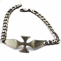 Bracelet en Argent 925, Bruni et Satin, Croix et Centrale Gourmette - $150.76