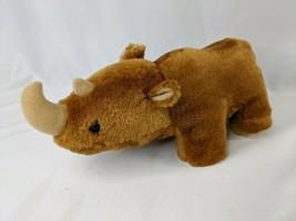 "Brown Rhino Plush Rhinoceros Rope Tail 10"" Long Stuffed Animal Toy - $14.95"