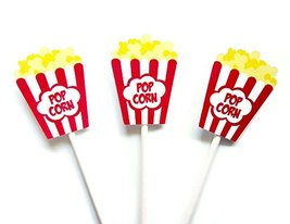 Popcorn Box Cupcake Toppers, Movie Party Cupcake Toppers, Movie Night Cupcake To - $11.99