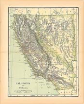 """Original 1903 Antique Map California Dodd Mead & Co.Collectible 12X10"""" - $37.37"""