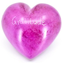 """Vaneal Group Hand Carved Soapstone 2-Sided """"Gratitude"""" Fuchsia Heart Paperweight image 1"""
