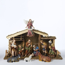 "Kurt S. Adler 12 Piece Nativity Set w/11 Resin Figurines 1.5""-6"" & Wooden Stable - $114.88"