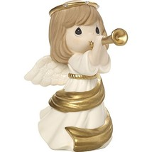 Precious Moments Make Music From The Heart Angel With Trumpet Bisque Por... - $45.20