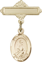 14K Gold Baby Badge with St. Louis Charm and Polished Badge Pin 1 X 5/8 inch - $416.46