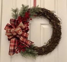 Christmas Grapevine Wreath, Farmhouse wreath, Rustic Christmas Wreath, H... - $52.93