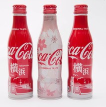 2 Yokohama & Sakura Coca Cola Aluminum Full bottle 3 250ml Japan Limited - $38.61