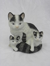 Vintage Homco Porcelain Black and White Mother Cat with 2 Kittens Figure... - $6.99
