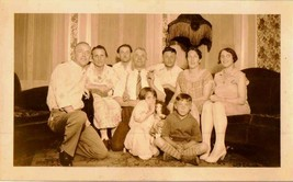 Old Vintage Antique Photograph Family Man Cigar Girl Doll Retro Livingroom - $6.93